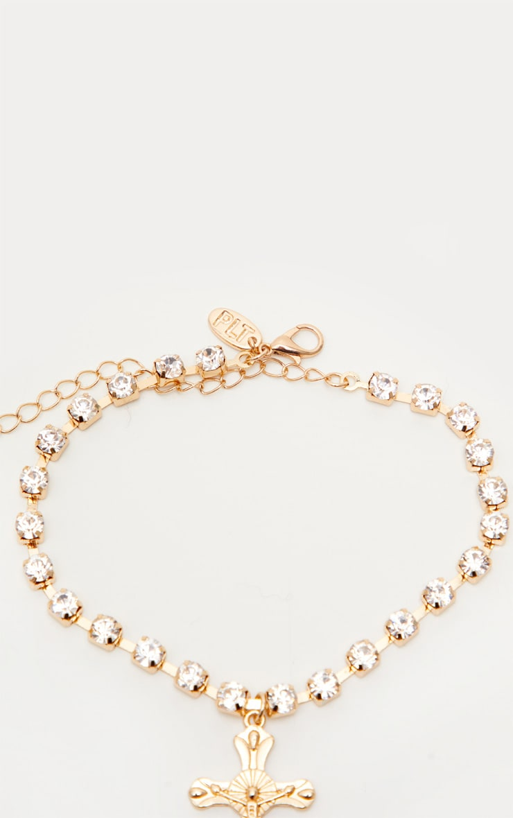 Gold Diamante Cross Anklet 3