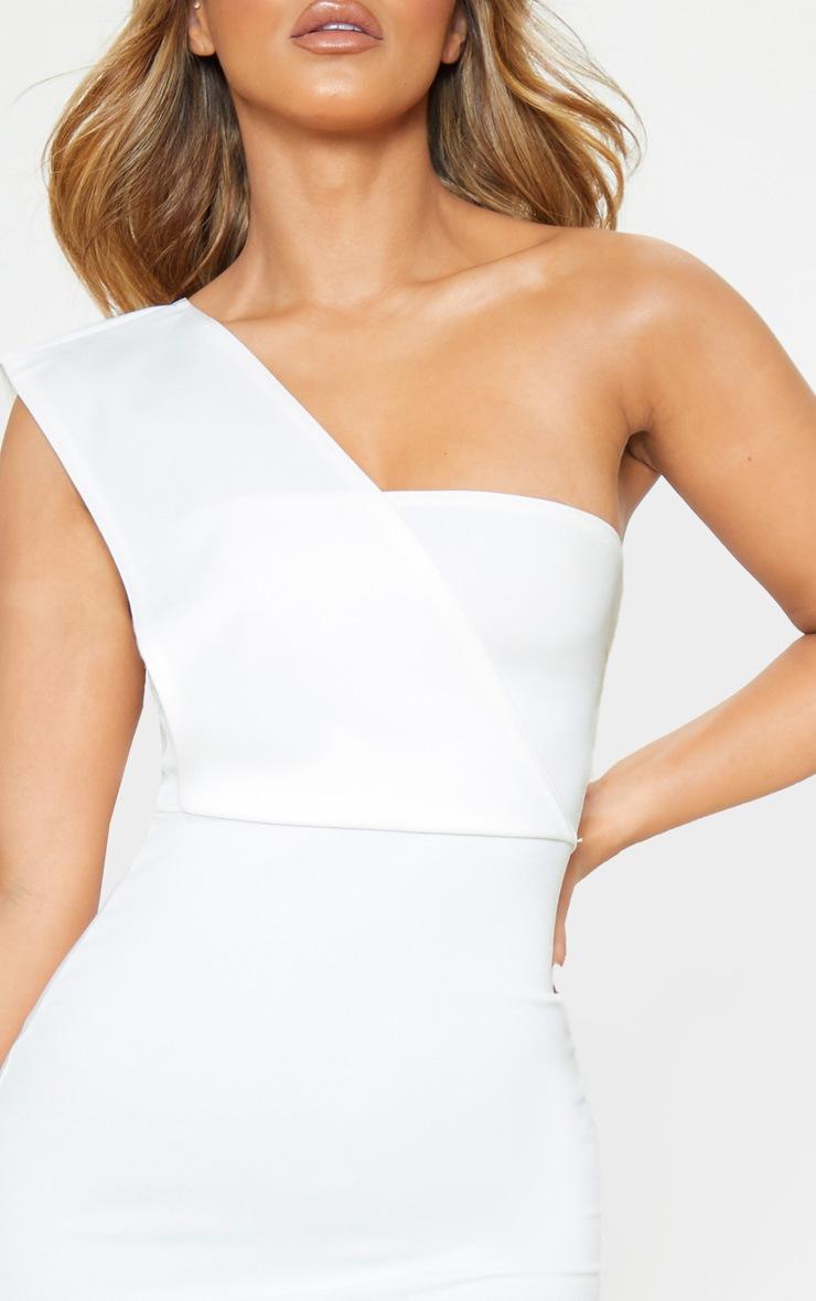 Petite Cream One Shoulder Draped Midi Dress  5