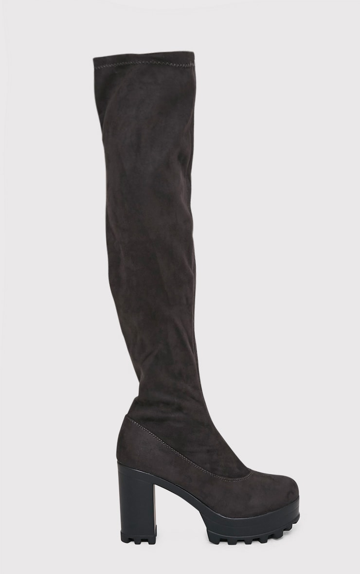 Kymberly Grey Platform Cleated Sole Knee High Boots 1