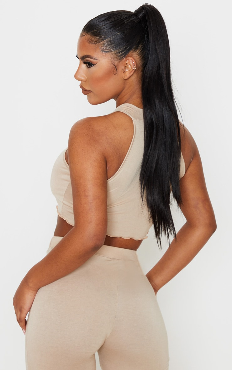 Stone Jersey High Neck Racer Back Crop Top 2
