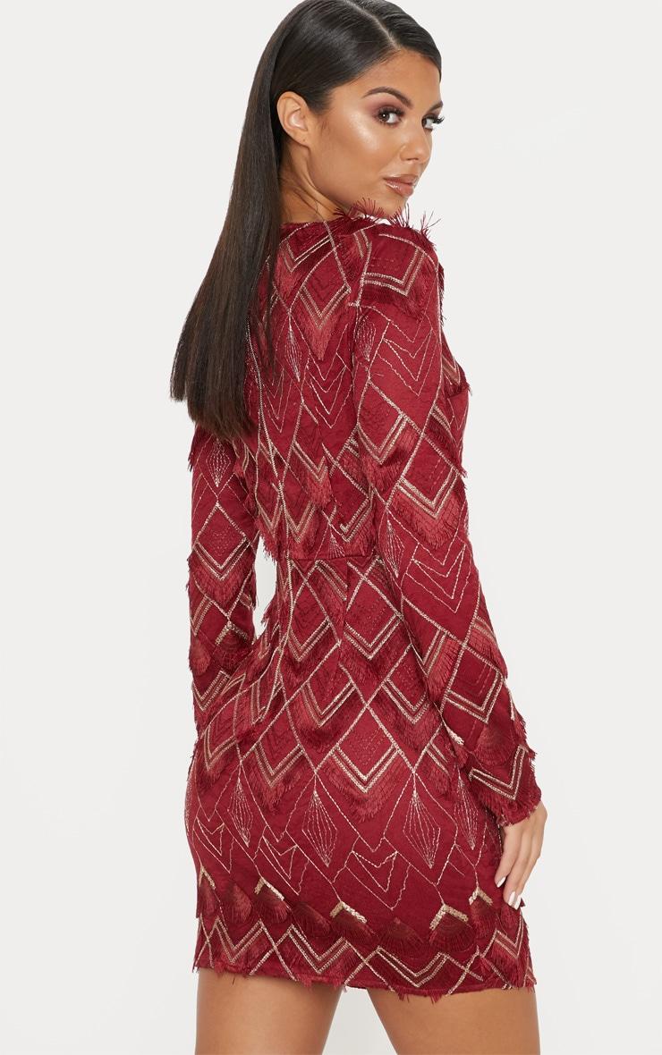Burgundy Embroidered Tassel Bodycon Dress 2