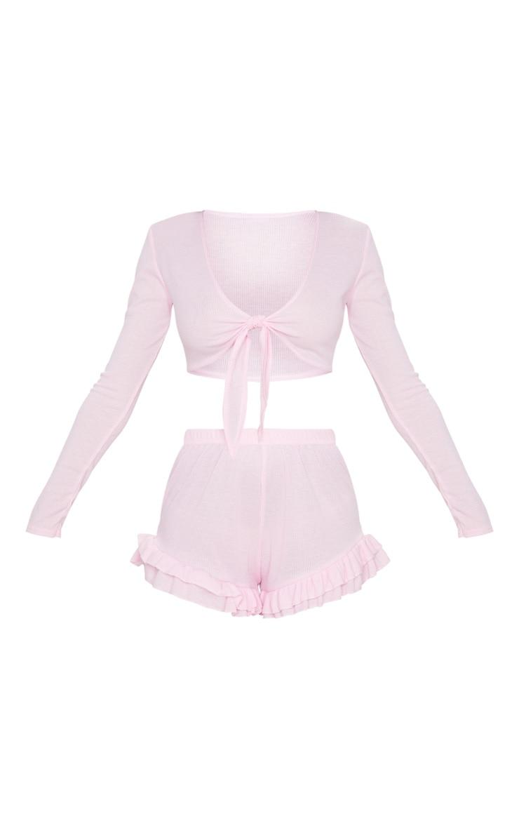 Ensemble de pyjama rose à top manches longues noué devant 5