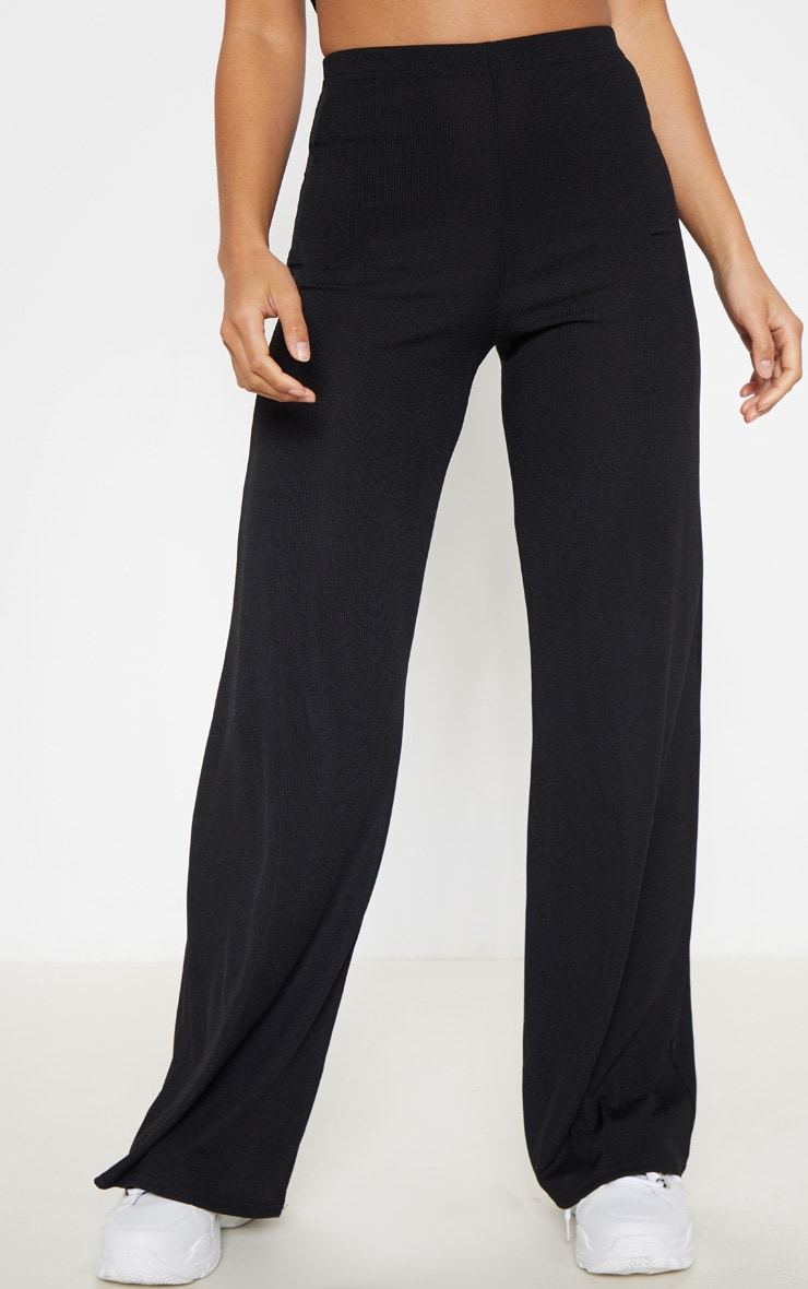 Petite Black Ribbed Wide Leg Trousers 2