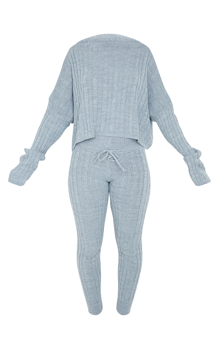 Grey Cable Knit Crop Jumper & Legging Set 5