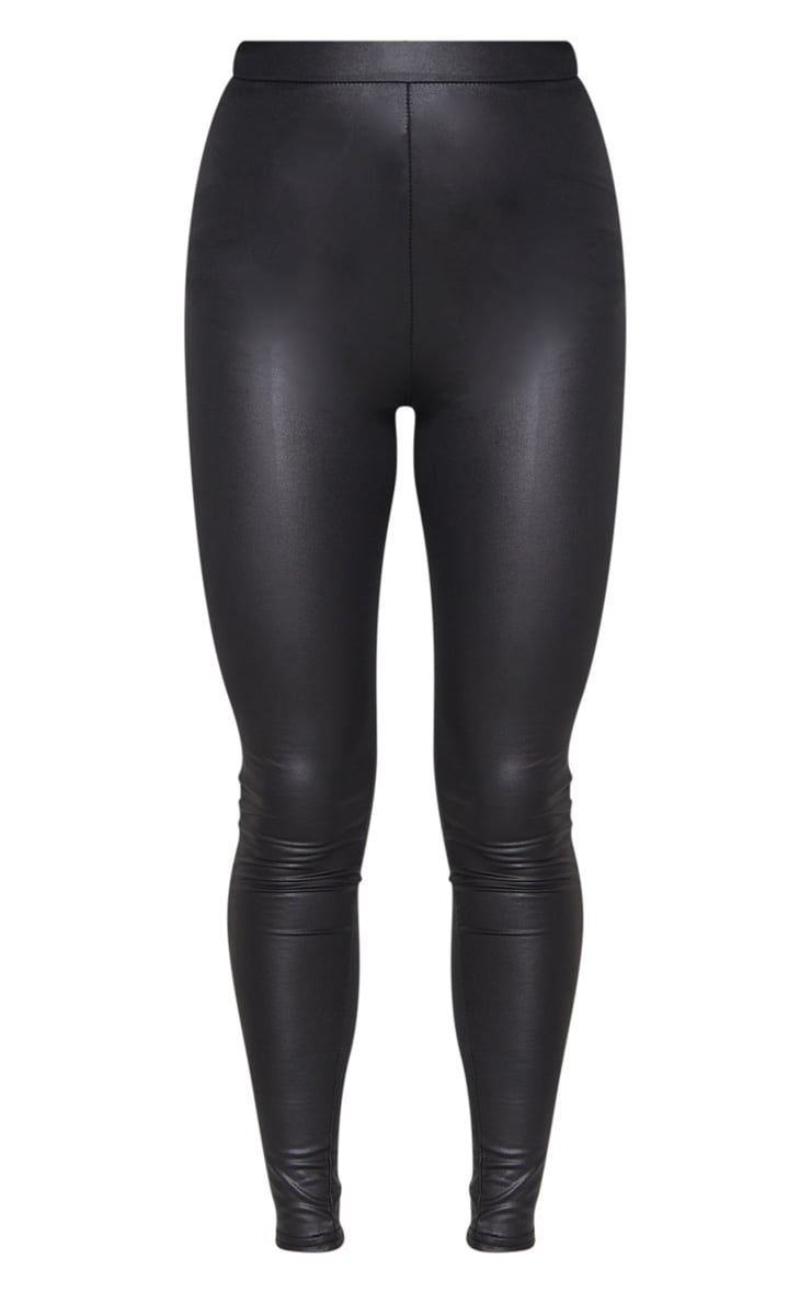 Black Ruched Bum Coated Leggings 5