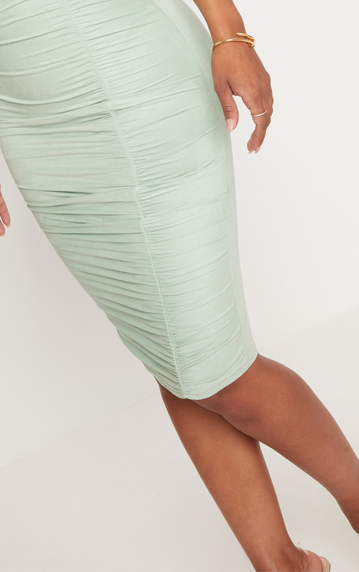 Shape Sage Green Faux Suede Ruched Midi Dress 5
