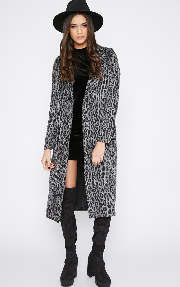 Tansy Charcoal Leopard Longline Coat  1