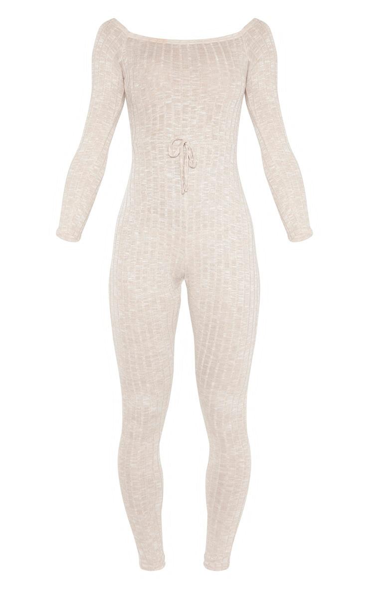 Oatmeal Rib Knitted Bardot Jumpsuit 3