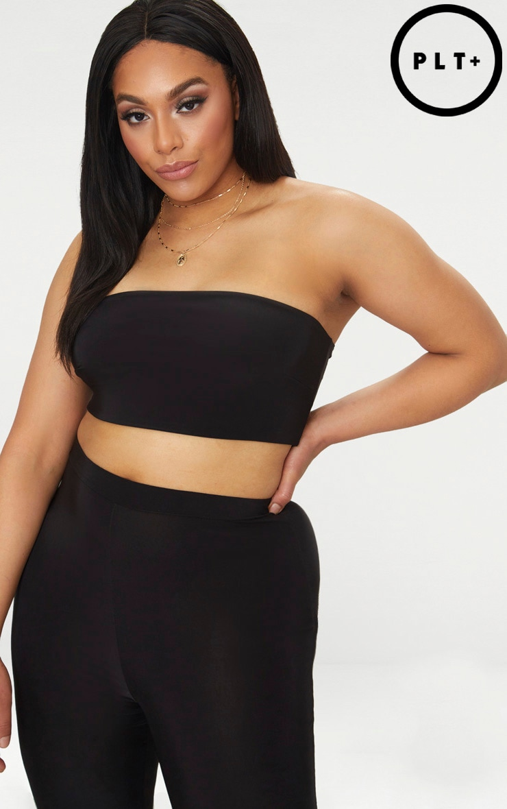 Plus Black  Bandeau Crop Top  1