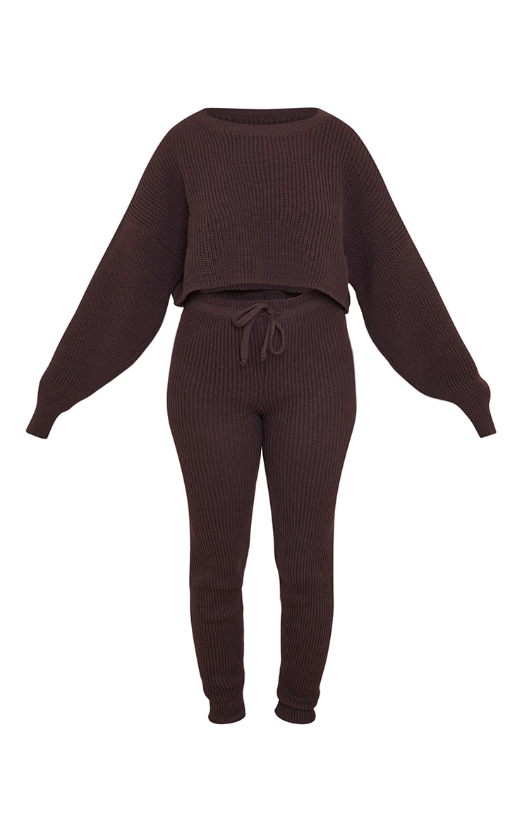 Chocolate Waffle Knitted Crop Jumper And Tie Waist Leggings Set 5