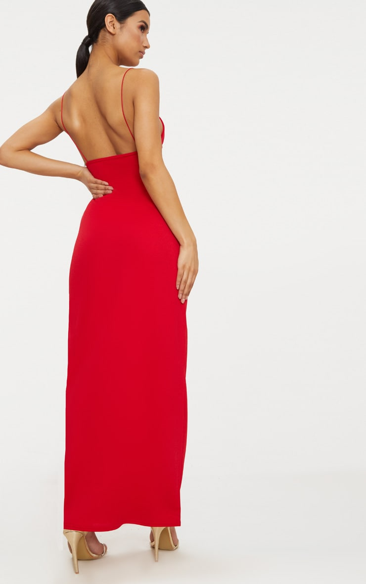 Red Strappy Detail Plunge Maxi Dress 2