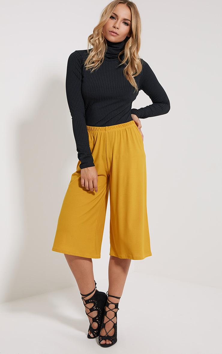 Aalia Mustard Crepe Culottes 1