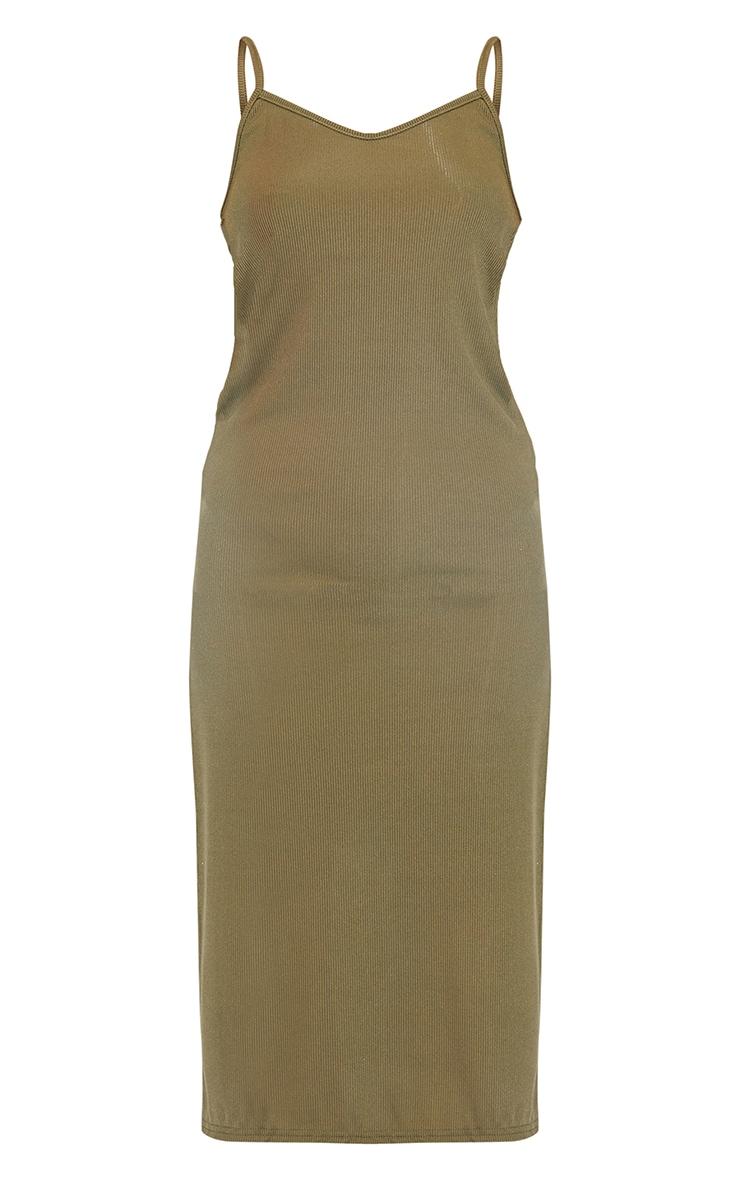 Khaki Rib Split Cami Midi Dress 5