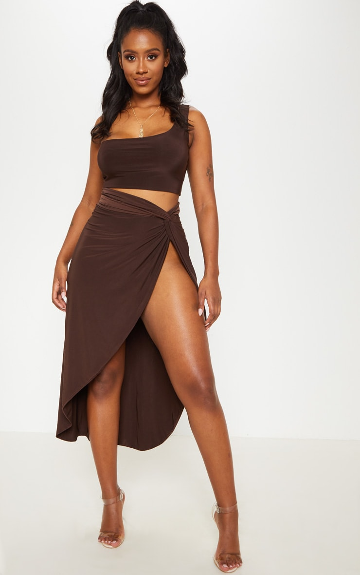Shape Chocolate Brown Knot Front Split Maxi Skirt 1