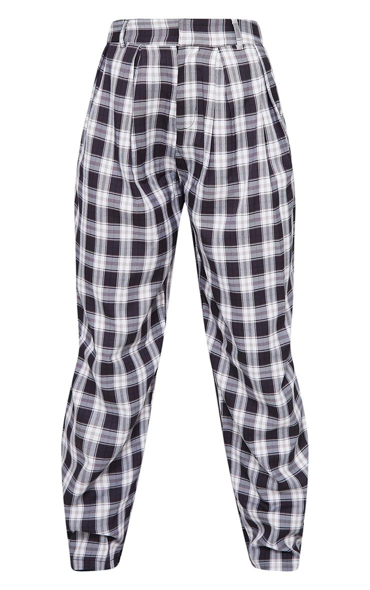 Black Check Woven High Waisted Cigarette Pants 5