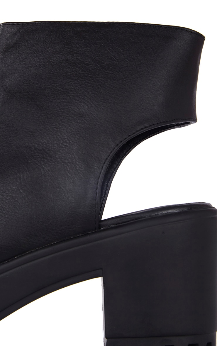 Amity Black Faux Leather Peep Toe Ankle Boots 4