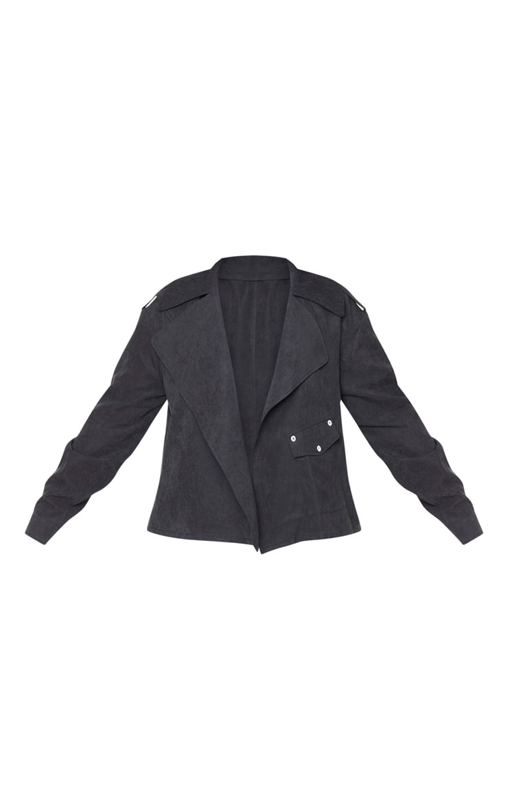 Plus Black Faux Suede Button Detailed Jacket 3