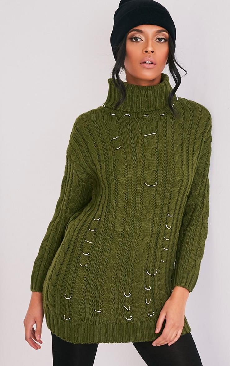 Leilania pull tricoté épais avec anneaux kaki 1