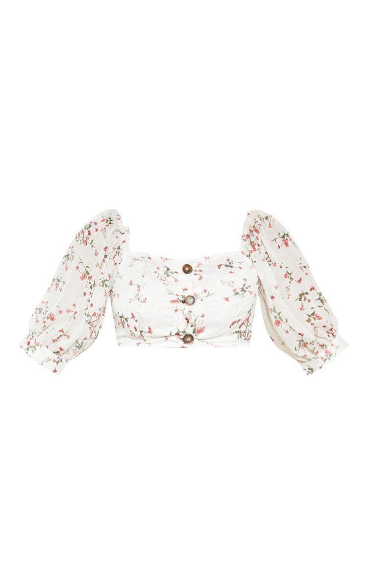 White Ditsy Floral Bardot Puff Sleeve Crop Top 3