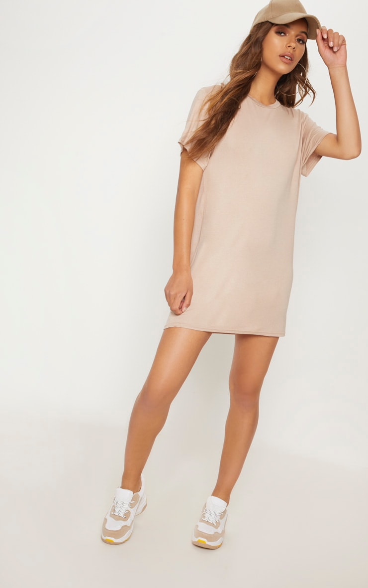 Basic Nude Short Sleeve T Shirt Dress 4