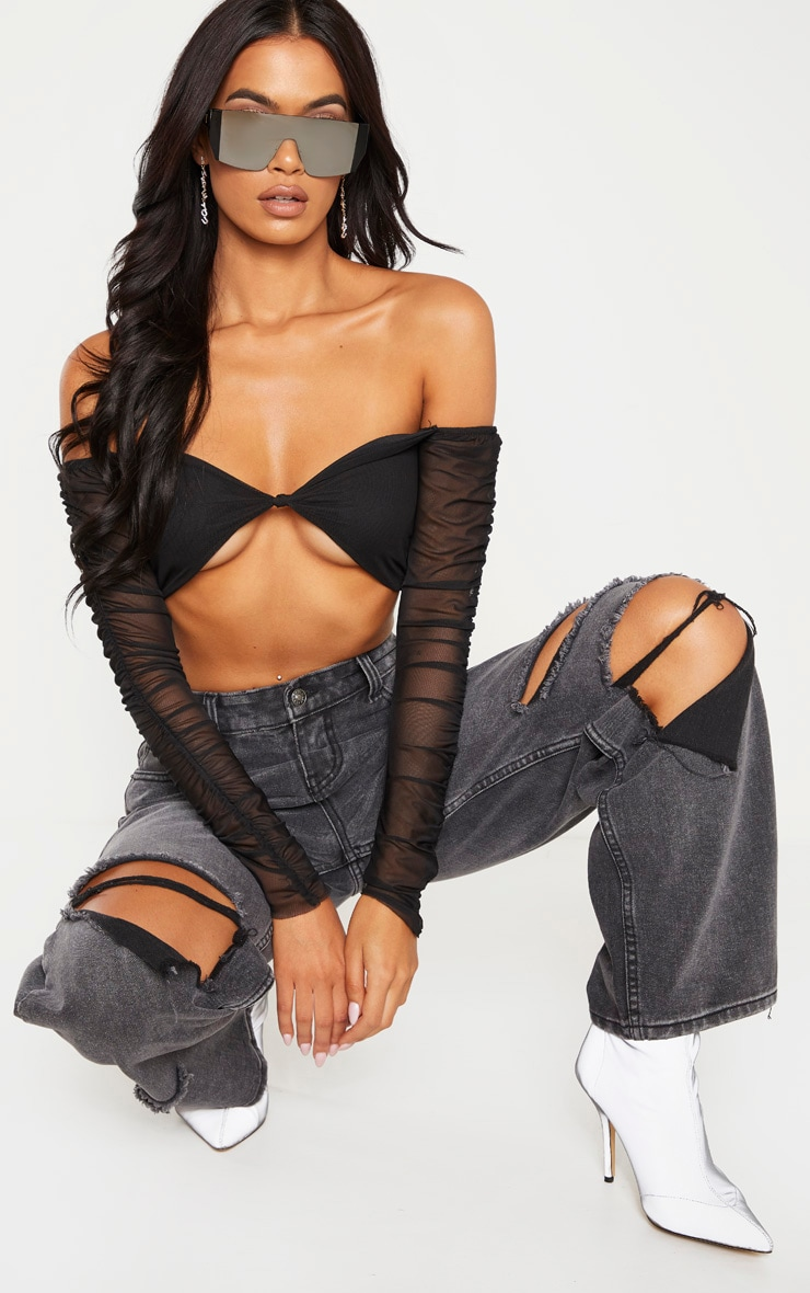 Black Mesh Ruched Sleeve Crop Top  1