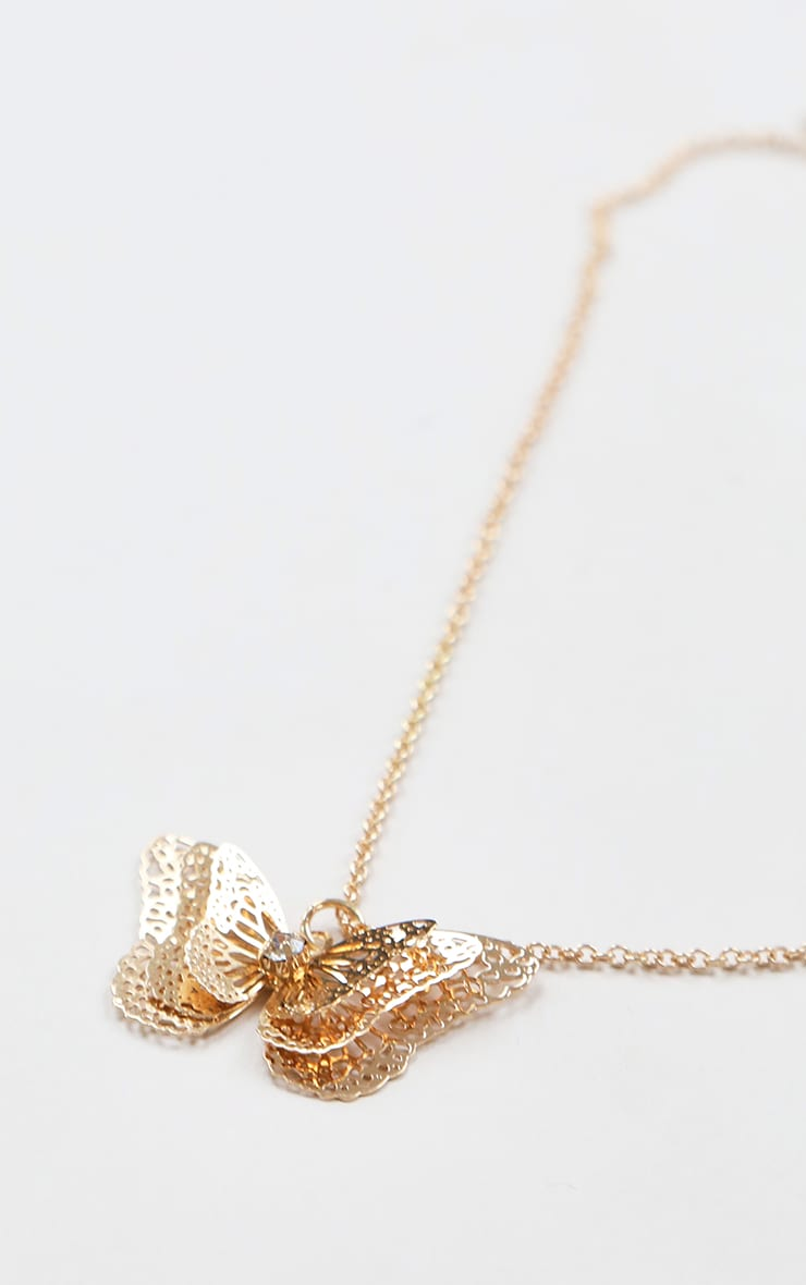 Gold Multi Layered Butterfly Necklace 2