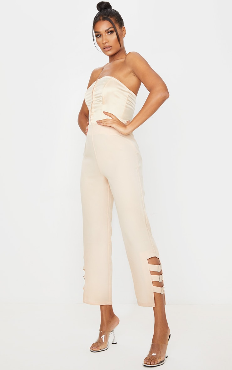 Taupe Woven Buckle Detail Straight Leg Trousers 1