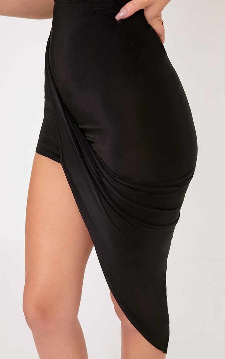 Alba Black Slinky Drape Skirt 4