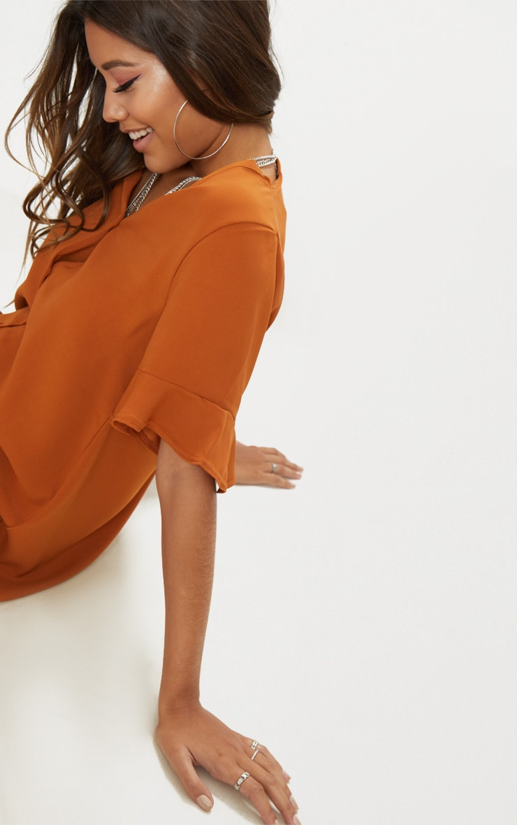 Rust Button Through Frill Sleeve Dress 5