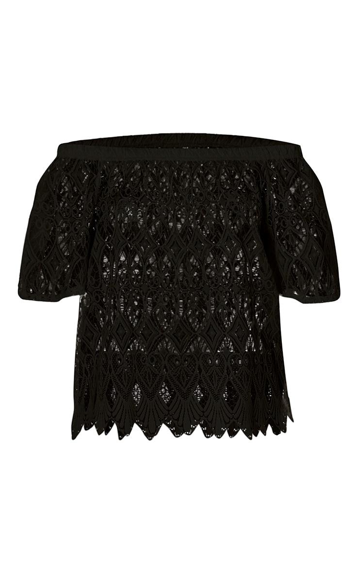 Zariah Black Lace Bardot Top 3