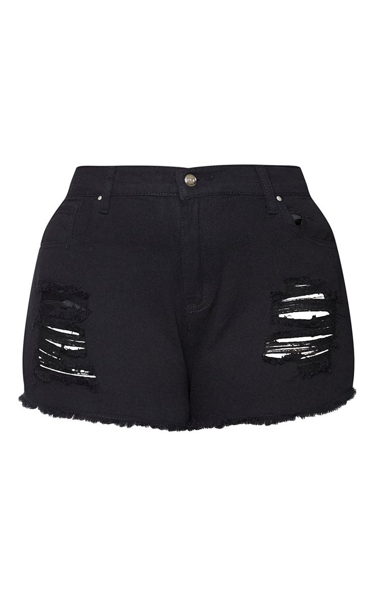 Plus Black Bum Rip Denim Hot Pants 6