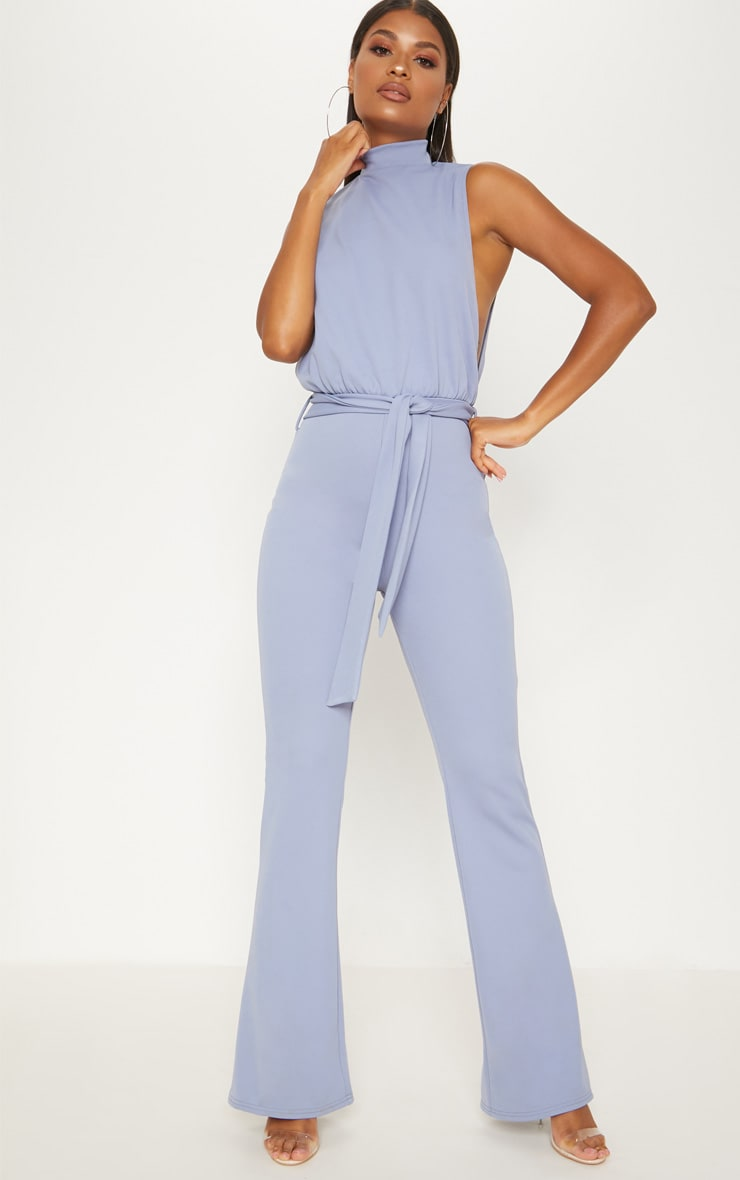 Dusky Blue Scuba High Neck Tie Waist Jumpsuit 1