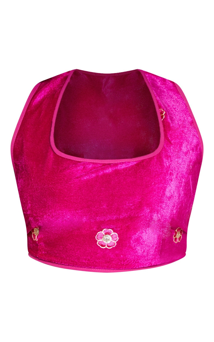 Plus Fuchsia Velvet Paisley Embroidered Square Neck Crop Top 4