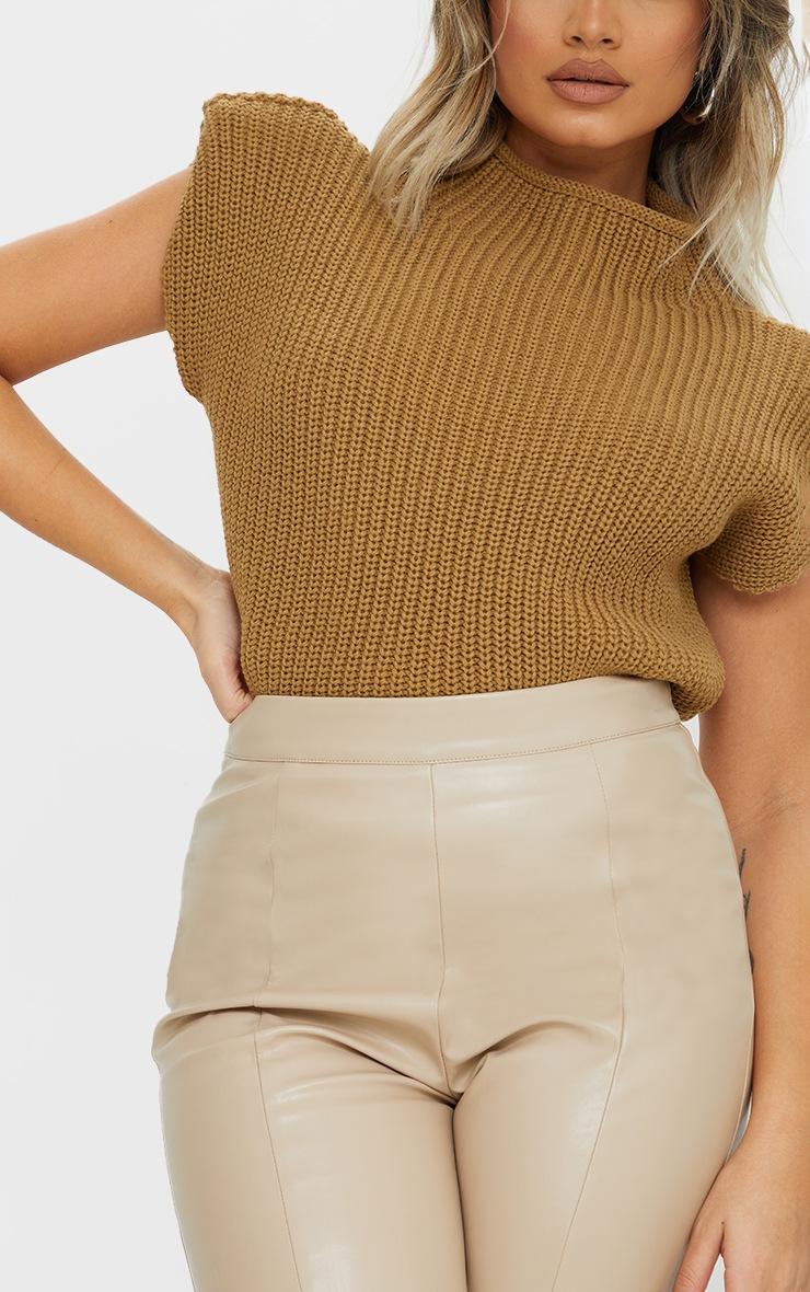 Petite - Pull sans manches en maille tricot camel à épaulettes 4