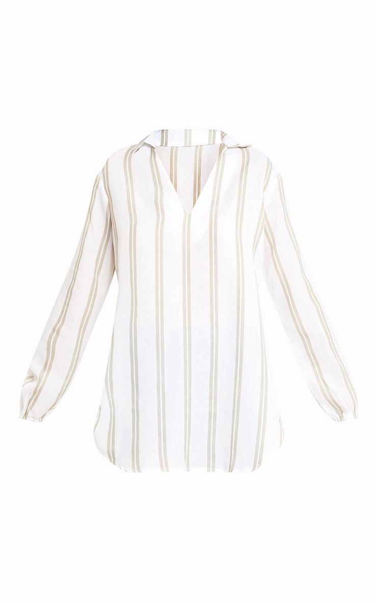 White Oversized Stone Stripe Shirt 3