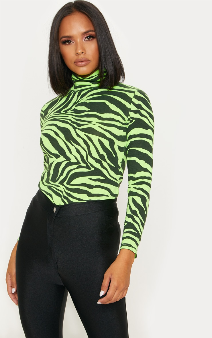 Neon Lime Zebra Printed High Neck Top 1
