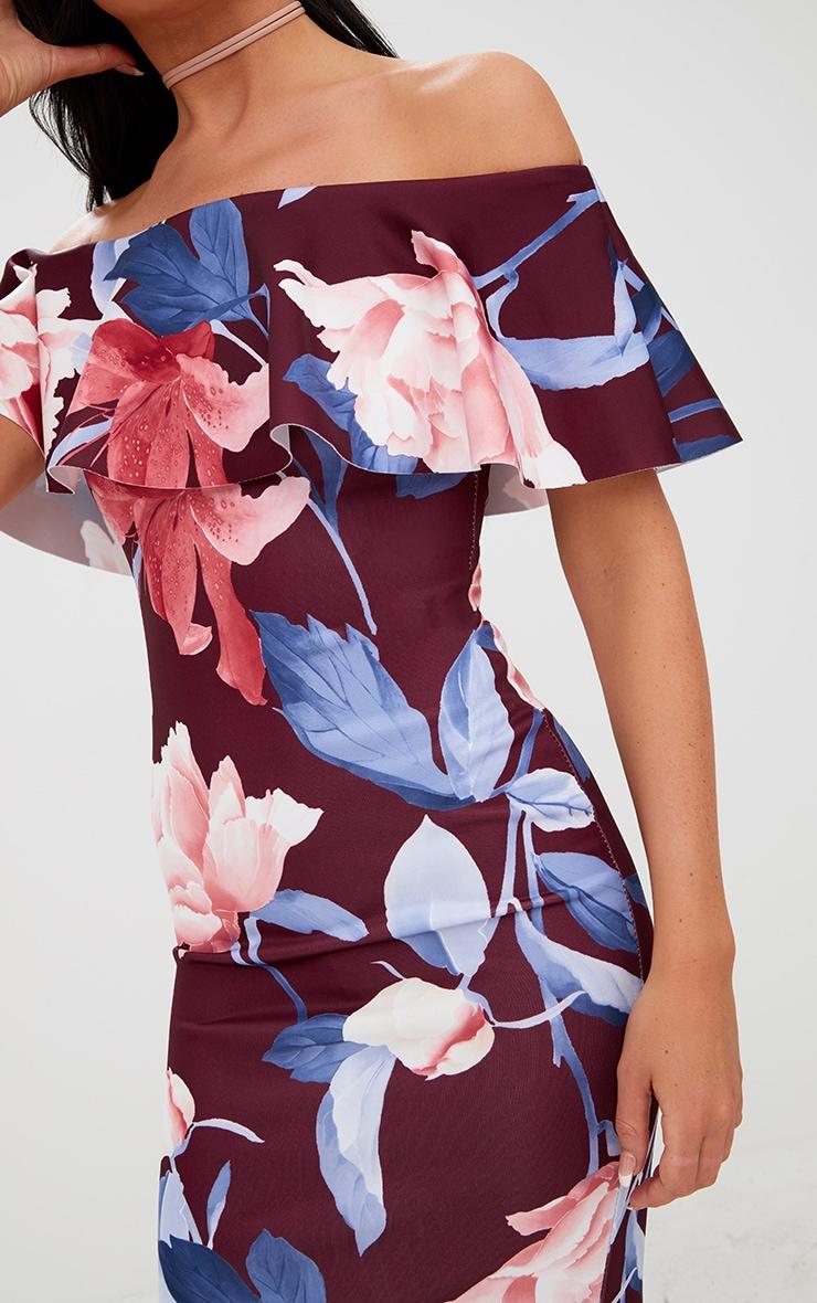 Burgundy Floral Frill Bardot Midi Dress 5