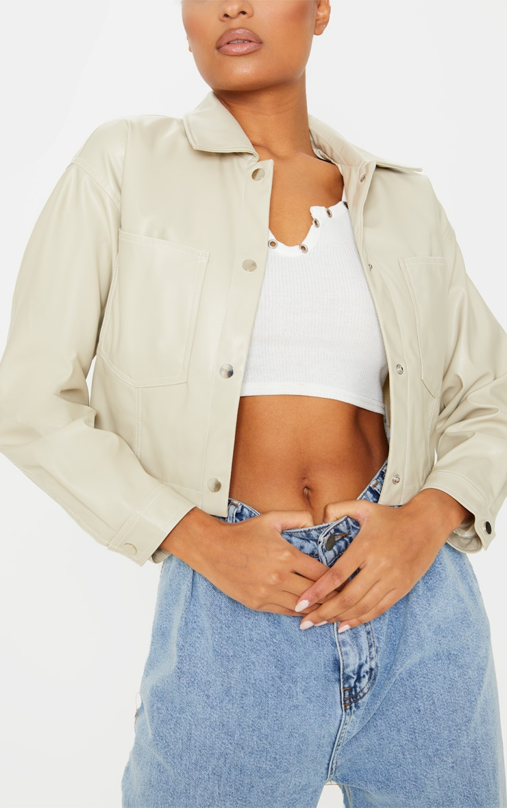 Stone Faux Leather Contrast Stitch Crop Jacket 5