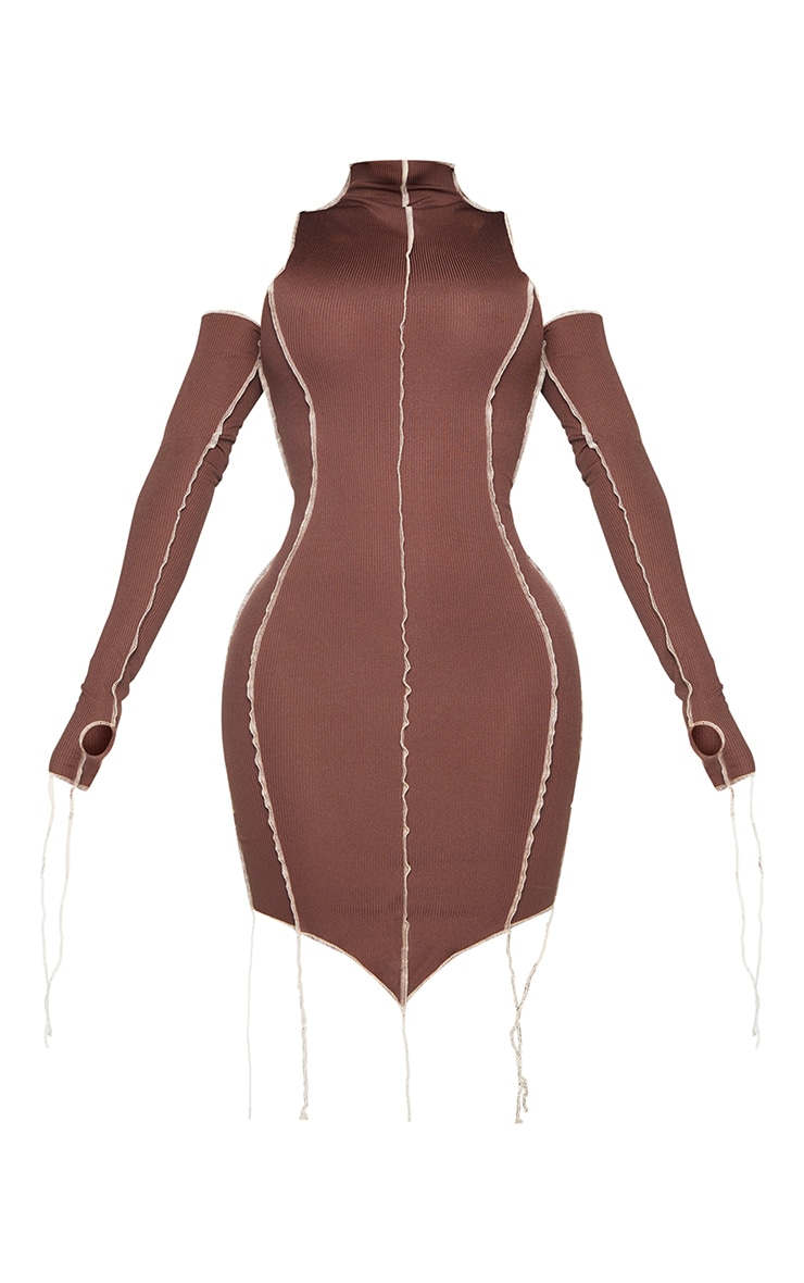 Shape Chocolate Brown Rib Overlock Seam Thumb Hole Bodycon Dress 5