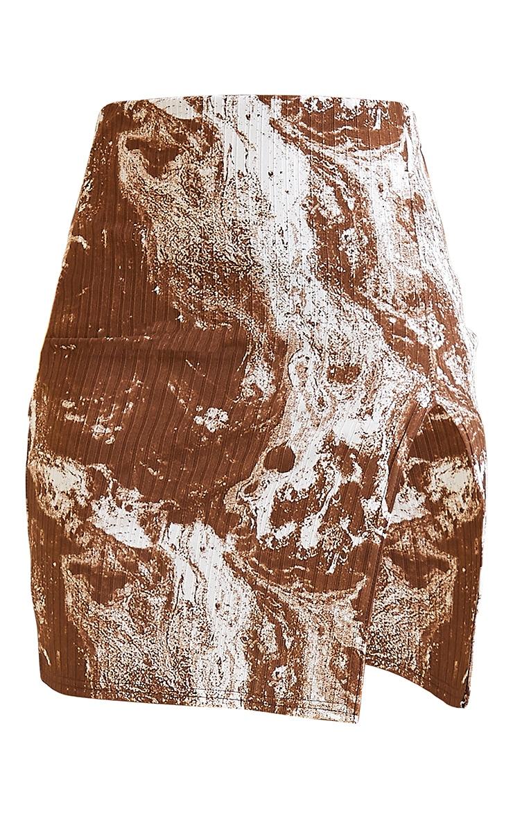 Brown Tie Dye Print Split Front Mini Skirt 6