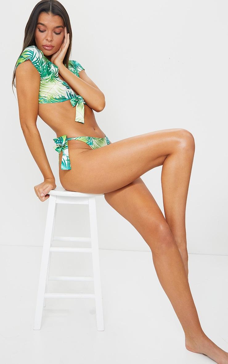 Green Palm Bow Tie Side High Leg Bikini Bottom 4