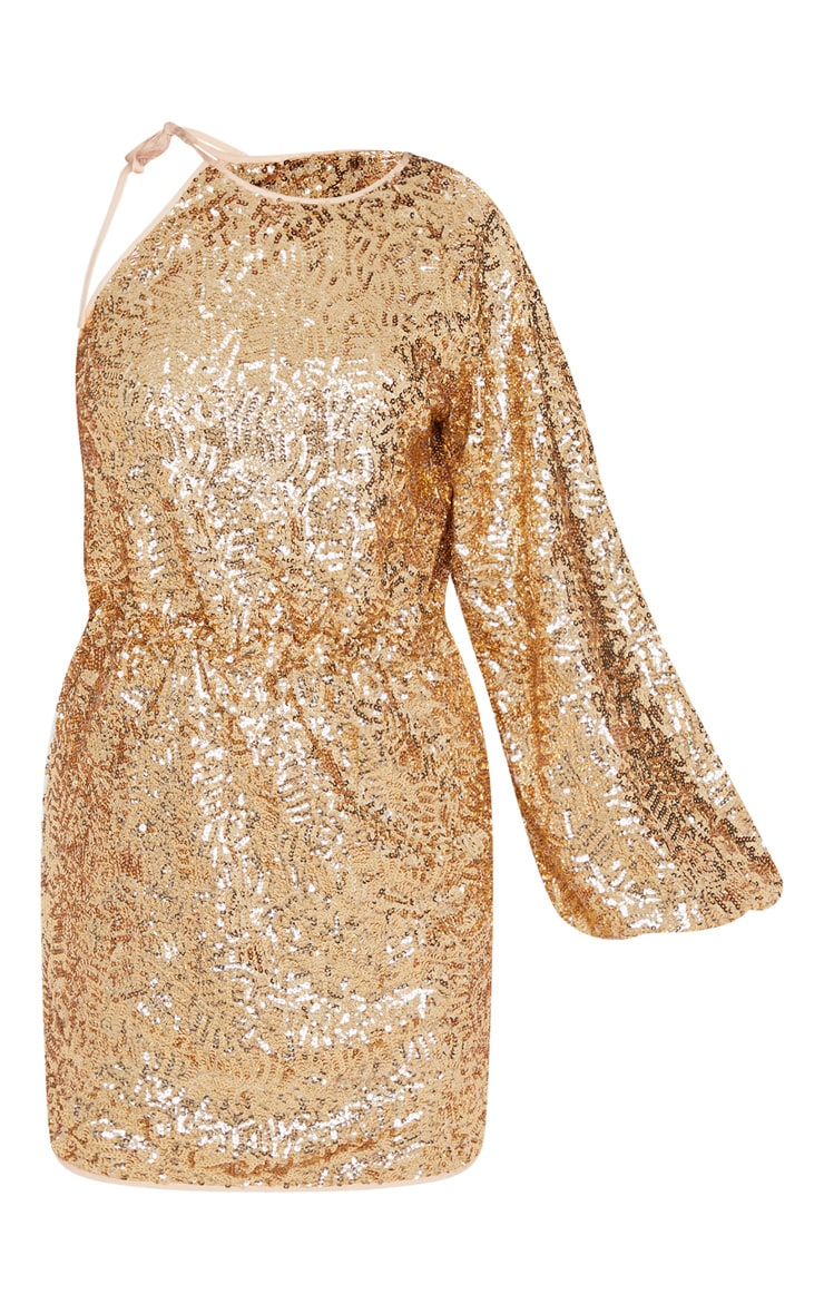 Gold Sequin One Shoulder Balloon Sleeve Shift Dress 3