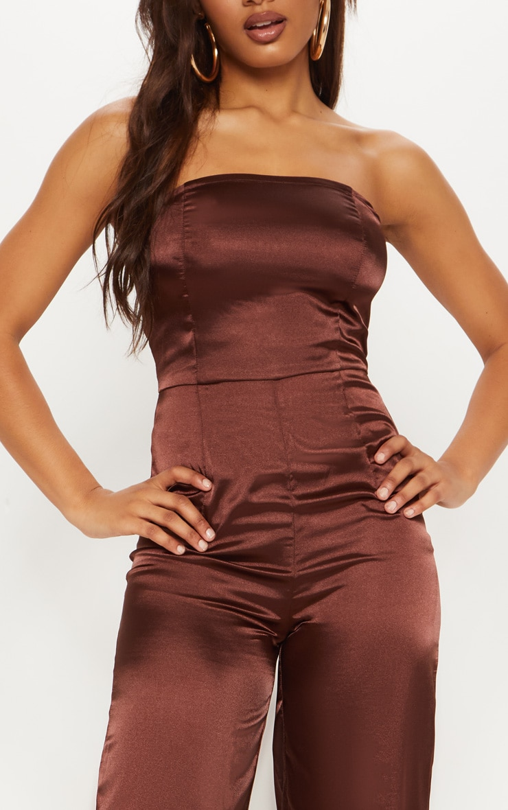 Tall Chocolate Brown Satin Bandeau Jumpsuit 5