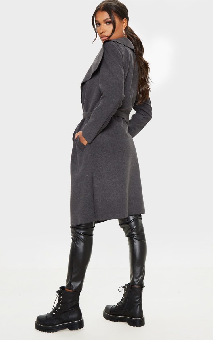 Veronica Charcoal Oversized Waterfall Belted Coat 2