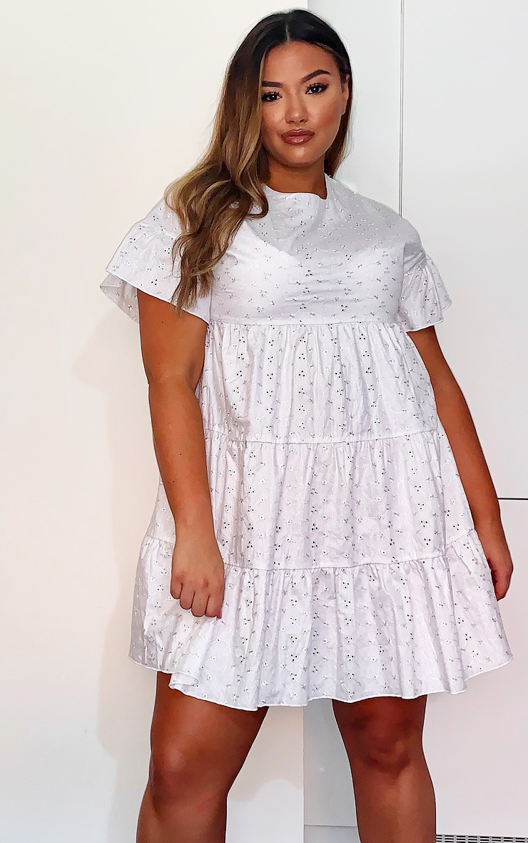 Plus White Broderie Anglaise Smock Dress 1