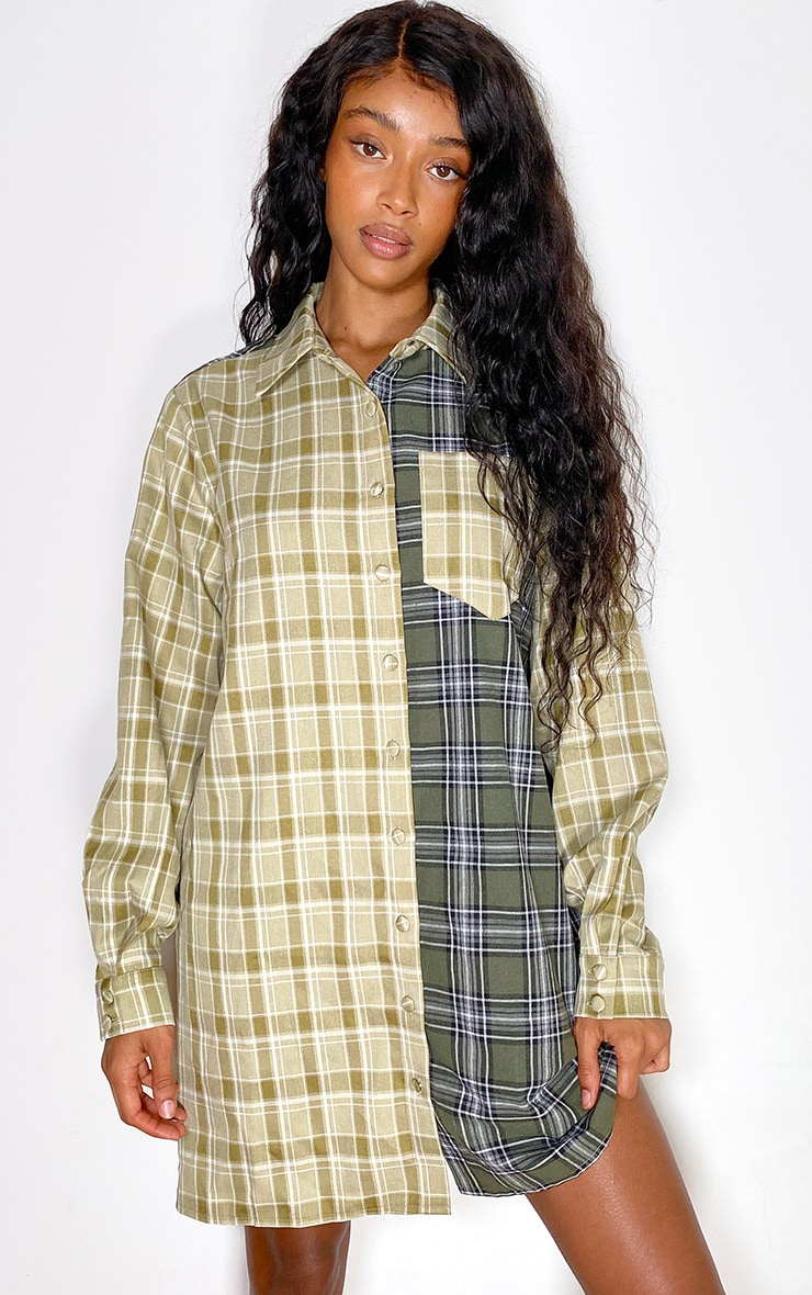 Green Two Tone Checked Shirt Dress 1
