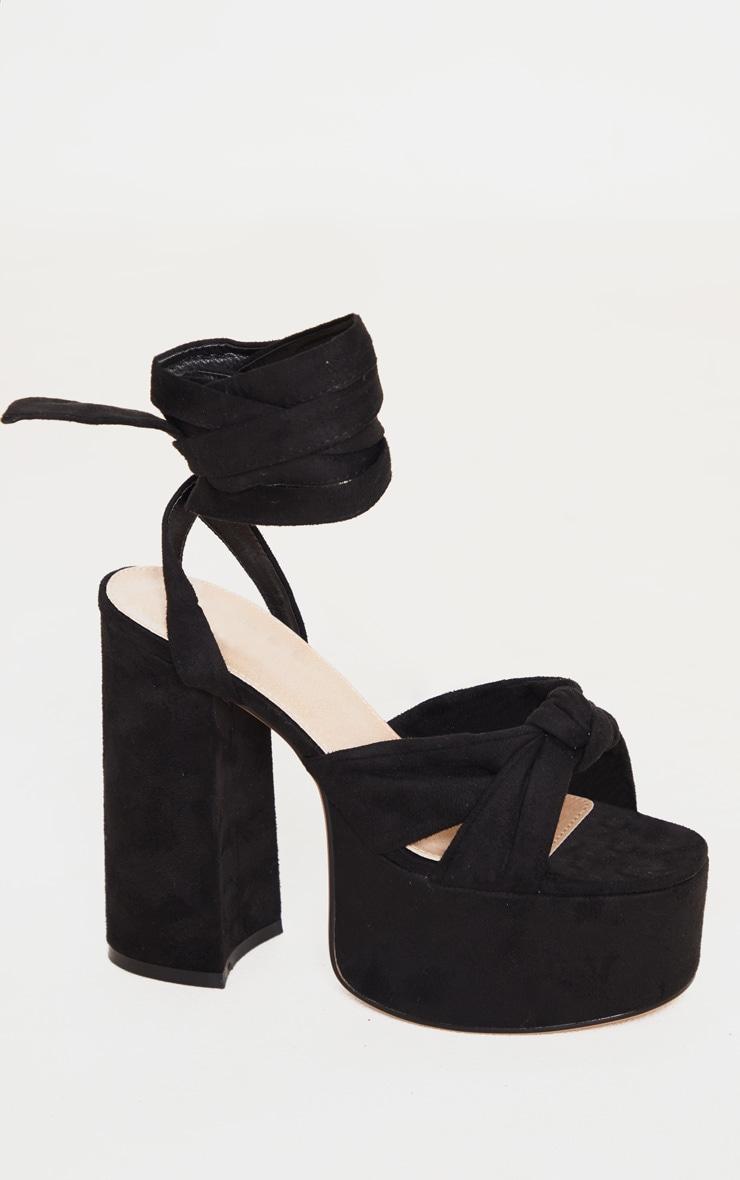 Black Knot Tie Ankle Strappy Platform Sandal 3