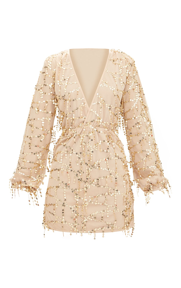 Gold Plunge Sequin Long Sleeve Bodycon Dress 3