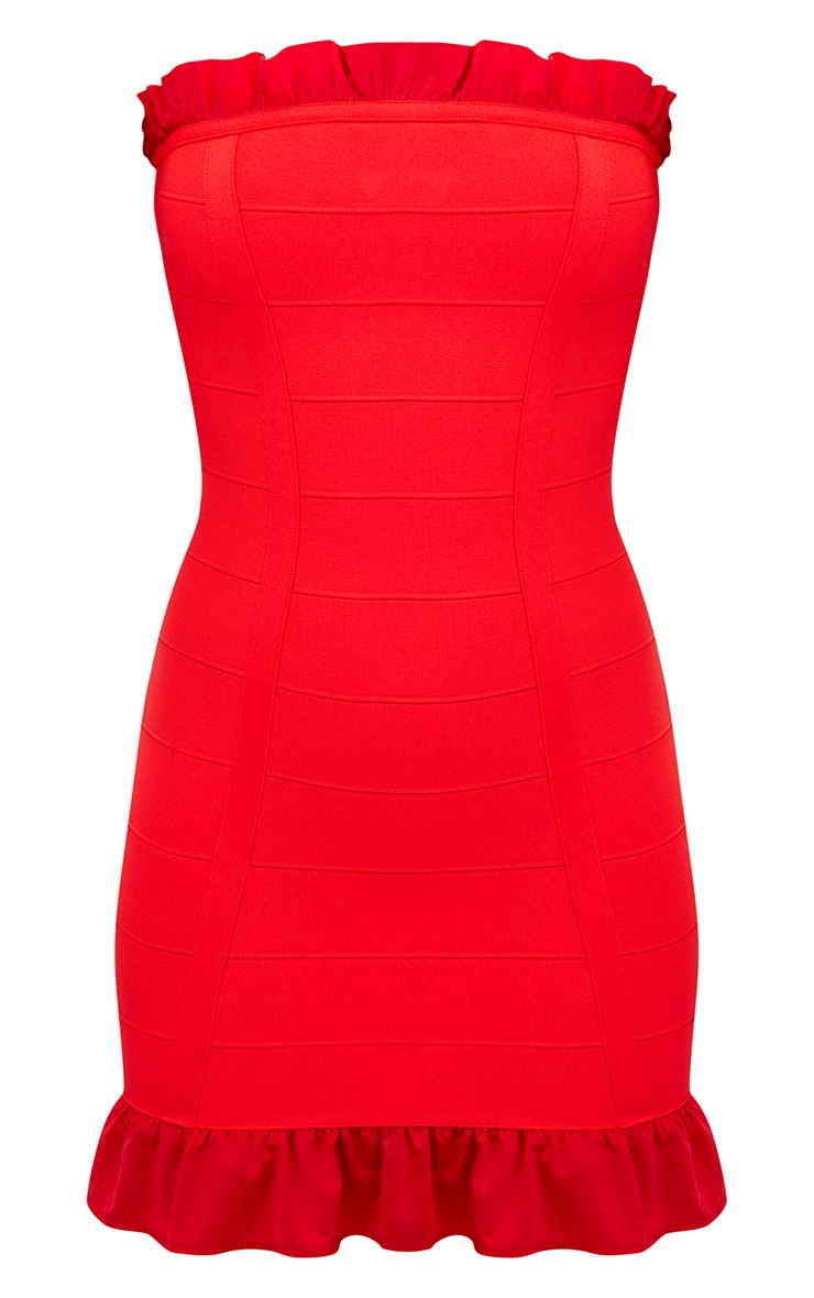 Red Bandage Frill Detail Bandeau Bodycon Dress 3