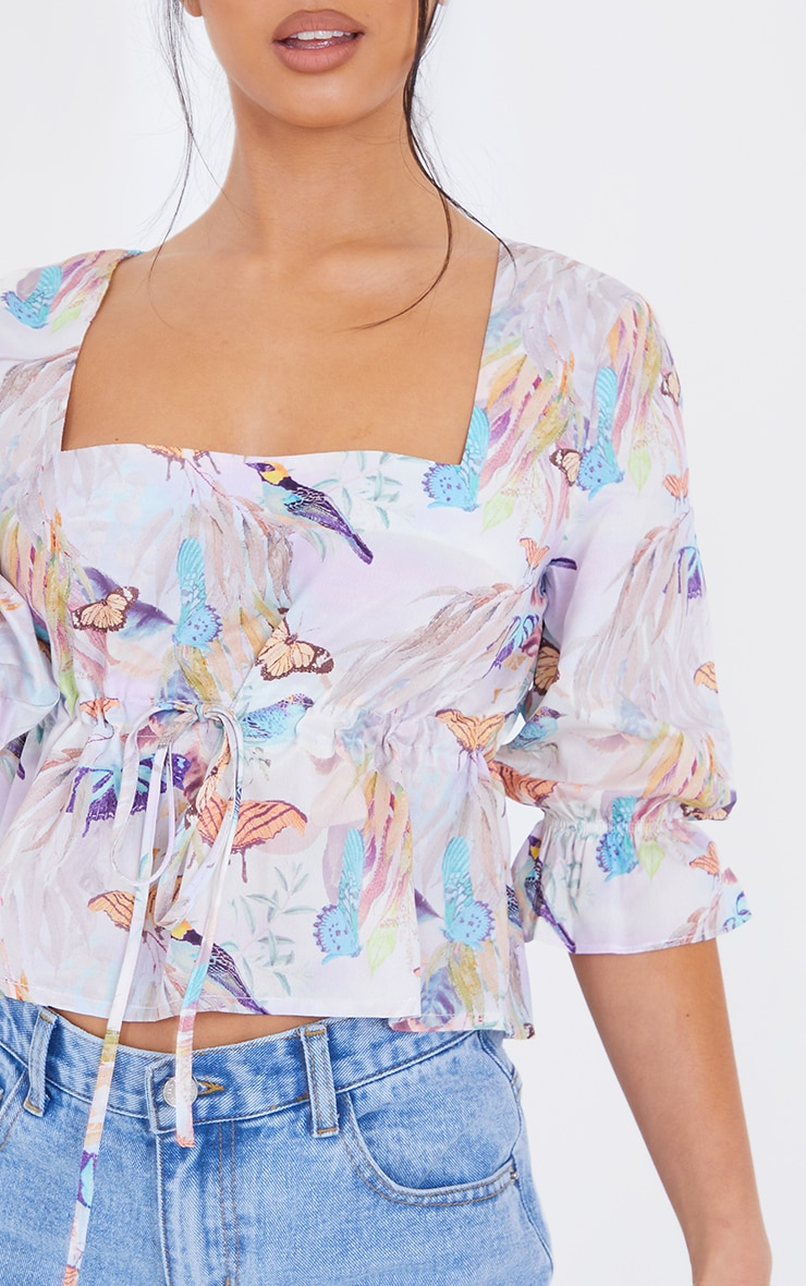 Petite Lilac Butterfly Ruched Middle Blouse 4